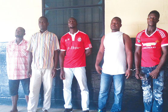 Arrested suspects (from right) - Musah Mulip, Abdulai Mohammed, Sahaku Sulemana, Adam Mahama and Sulemana Issahaku at the Accra Regional Police Command