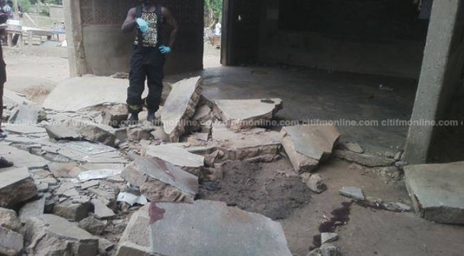 File image: Remnants of the collapsed structure/school building that left six school children dead in Breman Gyambra, a town in the Central Region of Ghana