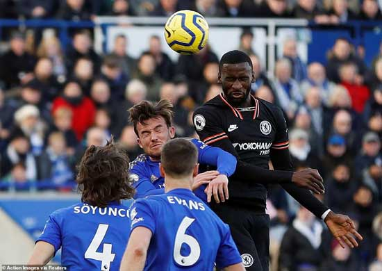 Following up on his earlier effort, Antonio Rudiger arrived on cue to out-jump the Foxes defence and power in another header.