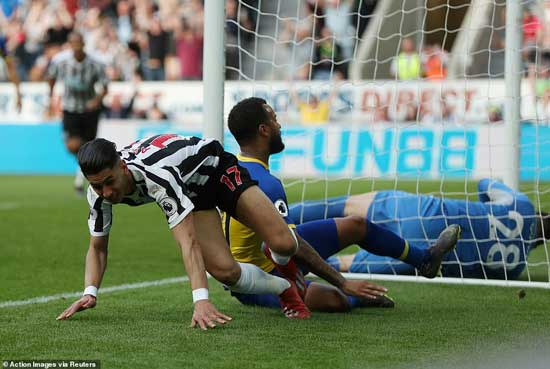 Bertrand and Perez both ended up in a heap on the floor before the Newcastle man sprung to his feet to run off in celebration of his second goal.