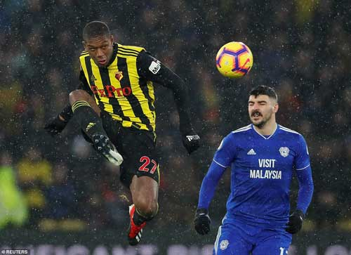 Watford's centre back Chrisitan Kabasele clears gha468the ball from danger under pressure from Callum Paterson in the first half. Image credit - dailymail