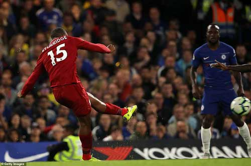 Sturridge is afforded time and space to place his shot and sneaks it beyond the despairing dive of Kepa in the top corner. Image credit - News wires