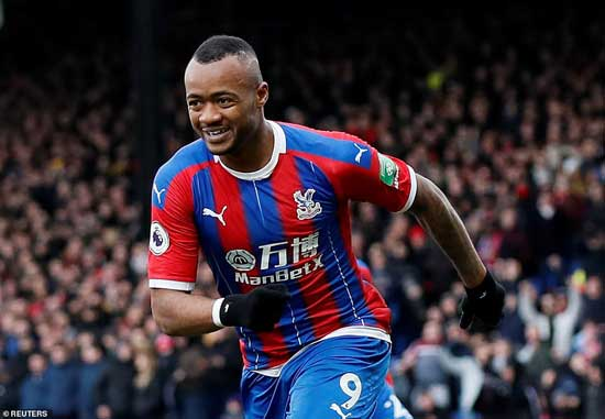 Jordan Ayew celebrates after bringing Crystal Palace back on level terms against Arsenal on Saturday lunchtime.