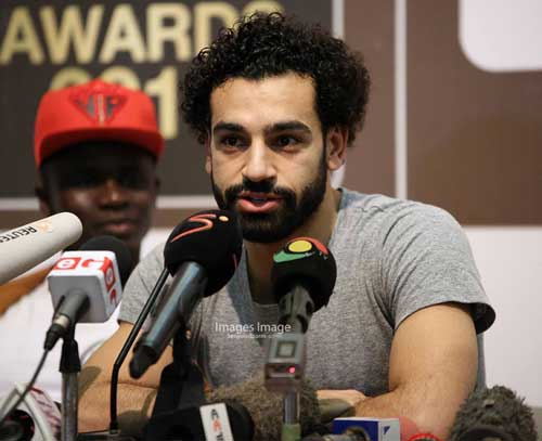 Egypt's Mohammed Salah addressing the press at the Accra International Conference Center ahead of the awards ceremony. Photo credit - S. A. Adadevoh.