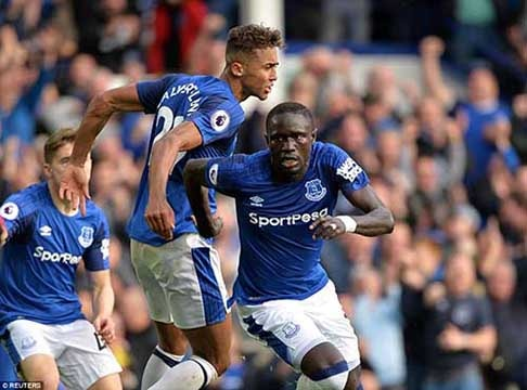 Senegalese forward, Oumar Diasse, who came on as a second-half substitute for Wayne Rooney at Goodison, turned the game on its head with 2 goals to earn Everton a crucial win. Photo - Reuters