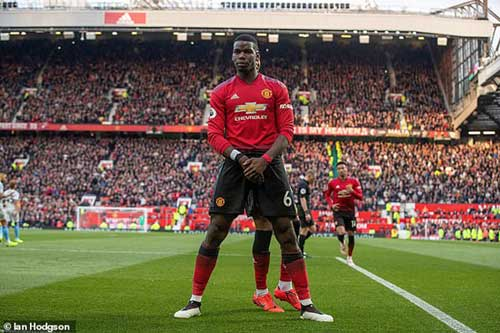 United's No 6 stands tall after scoring his second goal to give his side the lead late on.