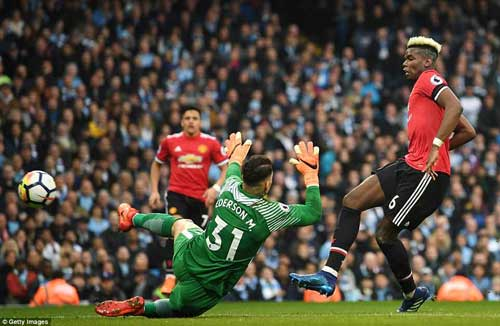 The £89million man fires home United's opening goal past Ederson to increase the home's sides nerves.