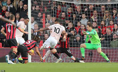 The Manchester United No 10 bundled the ball into the net despite the heroic efforts of Bournemouth defenders to stop it. Image credit - dailymailcouk