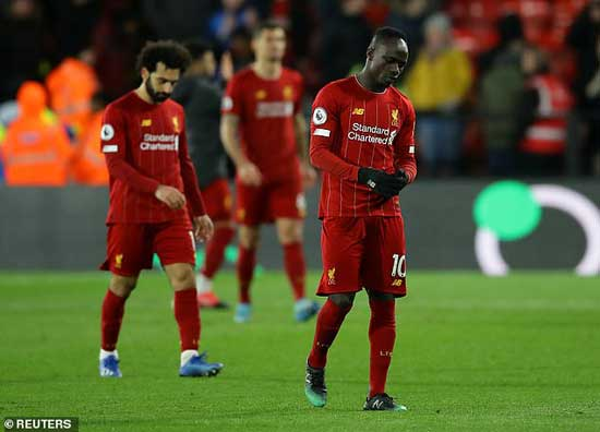 Record run ends for Liverpool with Mohammed Salah and Sadio Mane wearing the disappointment on their faces,