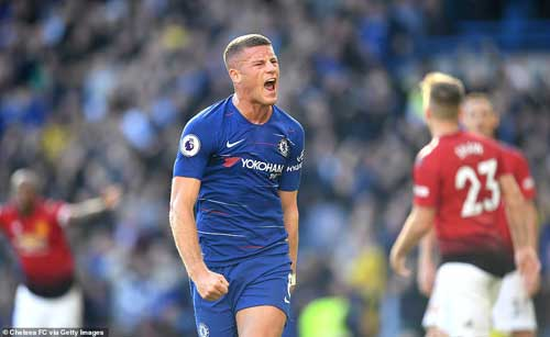 Ross Barkley scored with one of the final kicks of the game to rescue a point for Chelsea against Manchester United.