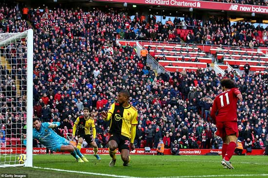 Salah made sure of Liverpool's victory with a clever flick towards the end of the game which Ben Foster was unable to stop.