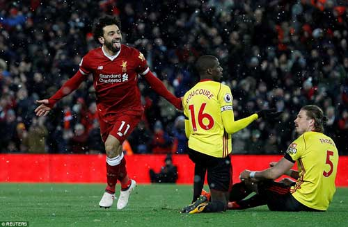 Mohamed Salah scored his first Premier League hat-trick as Liverpool thrashed Watford to climb into third place on Saturday.