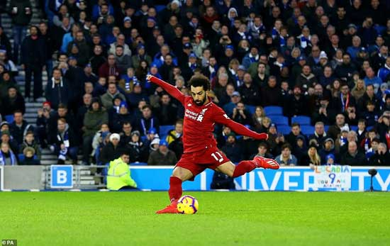 Mohamed Salah stepped up to the penalty spot to smash the ball home and put Liverpool 1-0 ahead at the Amex Stadium