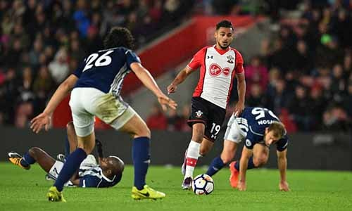 Southampton's Sofiane Boufal leaves a trail of flailing Baggies players whilst on his mazey, jinky run from his own half ... Photograph: Glyn Kirk/AFP/Getty Images