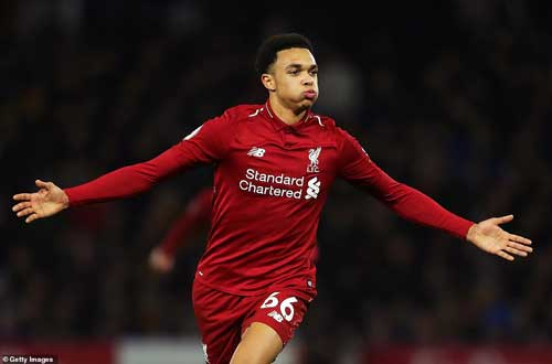 Liverpool defender Trent Alexander-Arnold celebrates after he made it 2-0 with a superbly-struck free-kick. Getty Image
