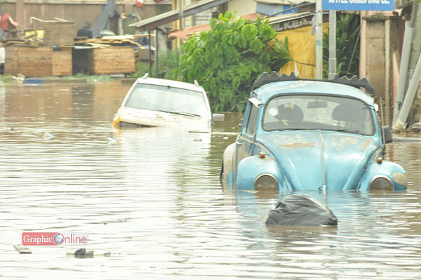 File image - A flooded scene in Accra, 2016