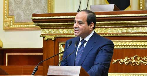 © Egyptian presidency / AFP | Egyptian President Abdel Fattah al-Sisi giving a speech during his swearing in ceremony on June 2, 2018, for a second four-year term in office, at the parliament meeting hall in Cairo.