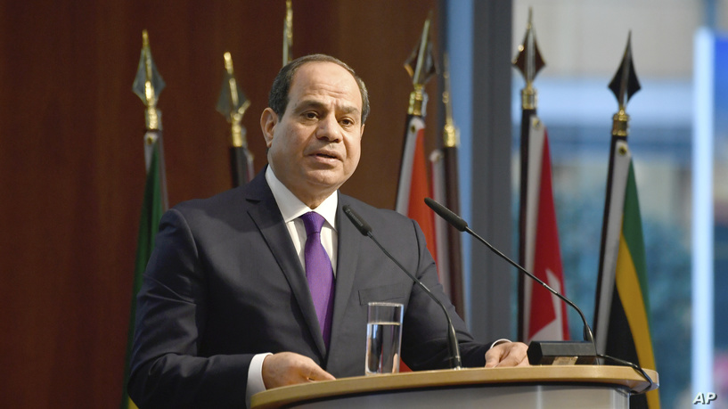 "Egypt's President Abdel Fattah al-Sisi speaks at the ""G20 Investment Summit"" in Berlin, Germany on Nov. 19, 2019."