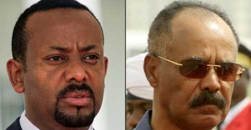 Ethiopian Prime Minister Abiy Ahmed (left) and Eritrean Prime Minister Isaias Afwerki. AFP photo