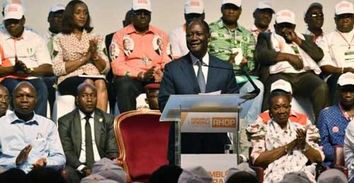 © Issouf Sanogo, AFP | Ivory Coast President Alassane Ouattara speaks during the founding of the RHDP party on July 16, 2018, in Abidjian.