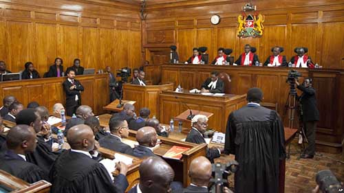 Kenyan Supreme Court judges deliver their detailed ruling concerning the August presidential elections, at the Supreme Court in Nairobi, Kenya, Sept. 20, 2017. Photo - VOA