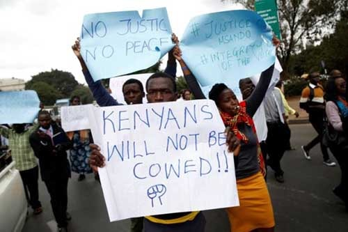 Protesters marched on the offices of Kenya's election commission on Tuesday, demanding a speedy investigation of the murder of Chris Msando. Photo - Reuters