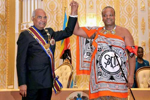 Swaziland King Mswati III (R) seen greeting Indian President Ram Nath Kovind (L) during a recent visit to India.