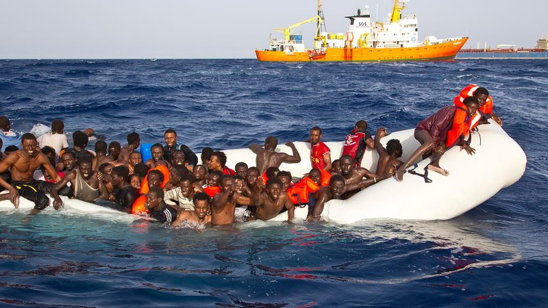 File image - 108 108 migrants were rescued from a semi-submerged rubber dinghy on April 17, 2016.