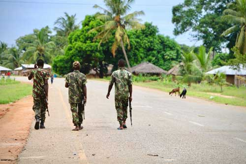 Soldiers from the Mozambique army on patrol after an attack by suspected islamists late last year.