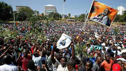Video: Thousands gather in Nairobi for Odinga 'swearing-in'