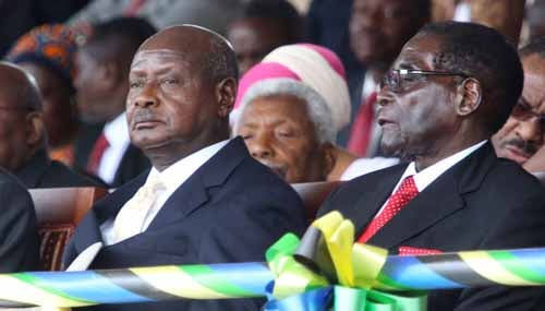 President Yoweri Museveni(left) and Zimbabwe's former President Robert Mugabe at an event. Reuters file image.
