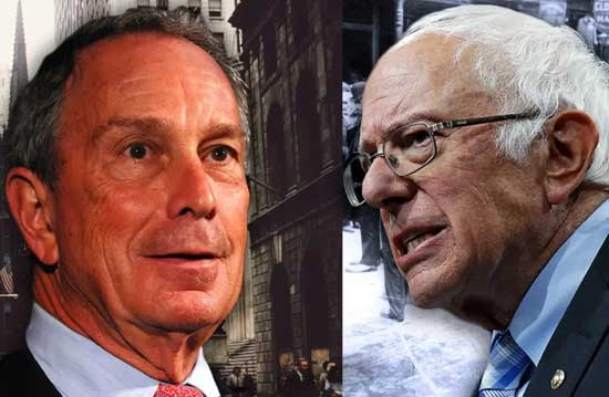 Sanders (R) says presidential rival Bloomberg (L) will not excite voters. Image credit - JPost
