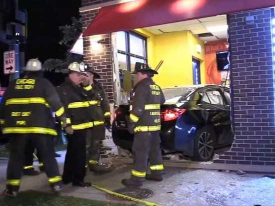 An off-duty police officer plowed into a restaurant in Chicago on Sunday, June 9, 2019. A woman inside the building was killed and the officer has been charged with DUI.