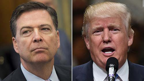 Former FBI Director, James Comey (L) and US President Donald Trump. Photo - CNN