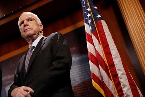 "Senator John McCain (R-AZ) looks on during a press conference about his resistance to the so-called ""Skinny Repeal"" of the Affordable Care Act on Capitol Hill in Washington, U.S., July 27, 2017. Photo: Reuters"