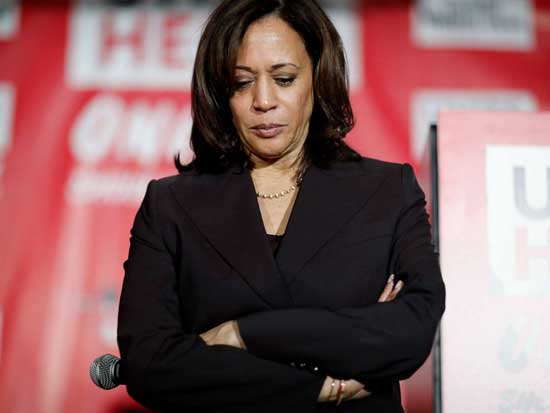 Democratic presidential candidate Sen. Kamala Harris, D-Calif., pauses as she speaks at a town hall event at the Culinary Workers Union, Friday, Nov. 8, 2019, in Las Vegas.