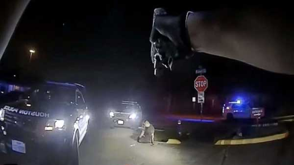 Nicolas Chavez, seen in body-camera footage provided by the Houston Police Department of the shooting incident on April 21, 2020. The department highlighted a stun gun that Chavez could later be seen grabbing.