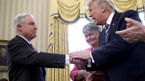 Trump (R) says he should not have picked Sessions (L) as attorney general: NY Times. Photo - Newswires