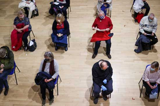 People wait to receive a vaccine against the coronavirus diseaase (COVID-19) in the Winding Wheel Theatre, Chesterfield, Britain February 3, 2021. Reuters photo