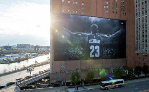 The LeBron James banner hanging in downtown Cleveland.