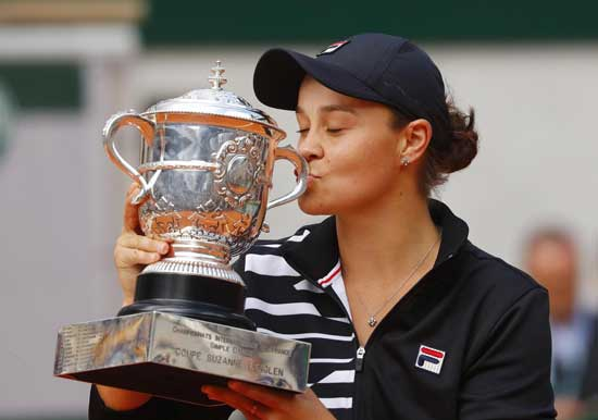 Tennis - French Open - Roland Garros, Paris, France - June 8, 2019. Australia's Ashleigh Barty celebrates with the trophy after winning the final against Marketa Vondrousova of the Czech Republic. Reuters photo