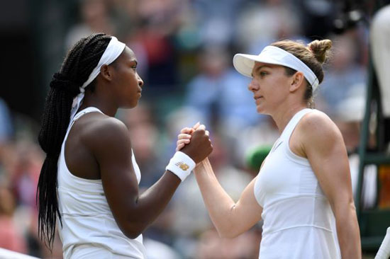 Romania's Simona Halep shakes hands with Cori Gauff of the U.S. after their fourth round match REUTERS/Tony O'Brien