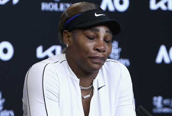 United States' Serena Williams reacts during a press conference following her semifinal loss to Japan's Naomi Osaka at the Australian Open tennis championship in Melbourne, Australia, Thursday, Feb. 18, 2021.(Rob Prezioso/Tennis Australia via AP)