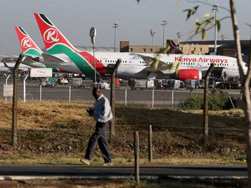 Kenya Airways planes are seen parked at the Jomo Kenyatta International Airport near Nairobi, Kenya, March 6, 2019.
