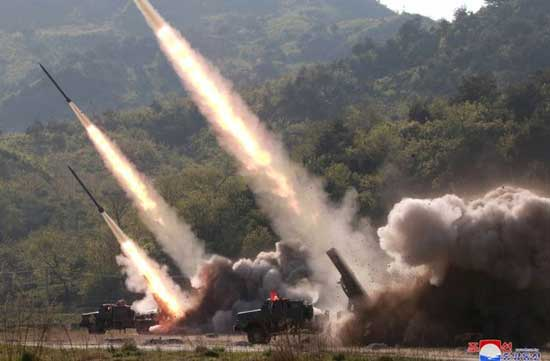 Missiles are seen launched during a military drill in North Korea, in this May 10, 2019 photo supplied by the Korean Central News Agency (KCNA). KCNA via REUTERS