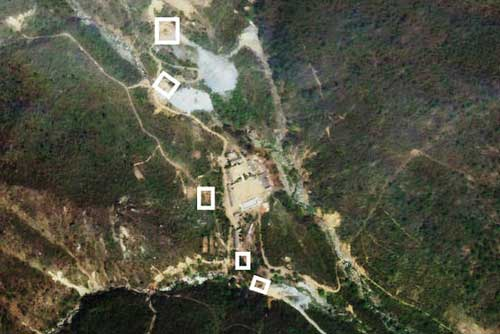 A satellite image captured Monday, indicating where buildings have been removed or are being removed. Image credit - wsj