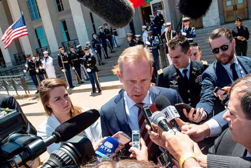 Acting U.S. Secretary of Defense Patrick Shanahan speaks to reporters before his meeting with his Portuguese counterpart Joao Gomes Cravinho at the Pentagon in Washington, D.C., on June 14, 2019.