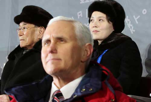U.S. Vice President Mike Pence, North Korea's nominal head of state Kim Yong Nam, and North Korean leader Kim Jong Un's younger sister Kim Yo Jong attend the Winter Olympics opening ceremony in Pyeongchang, South Korea February 9, 2018. Yonhap via REUTERS