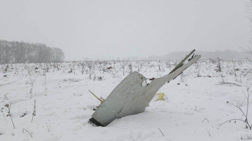 The crash site of Russian passenger plane outside Moscow, February 11, 2018. STRINGER / Reuters