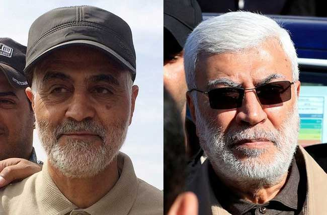 FILE PHOTO: Combination photo of Iranian Revolutionary Guard Commander Qassem Soleimani (L) and Abu Mahdi al-Muhandis, a commander in the Popular Mobilization Forces. REUTERS/Stringer/Thaier al-Sudani